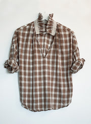 A SHIRT THING | Penelope Plaid with Ruffle in Caramel