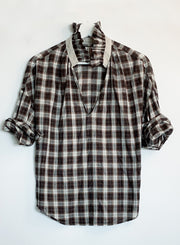 A SHIRT THING | Penelope Plaid with Ruffle in Espresso