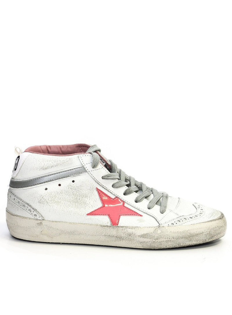 GOLDEN GOOSE | White Pink Mid-Top Sneaker