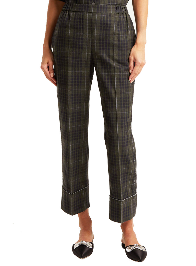 N°21 | Crystal-Embellished Checked Cropped Trousers