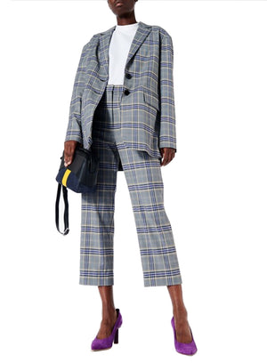 TIBI | Taylor Lucas Suiting Plaid High-Rise Straight-Leg Pants