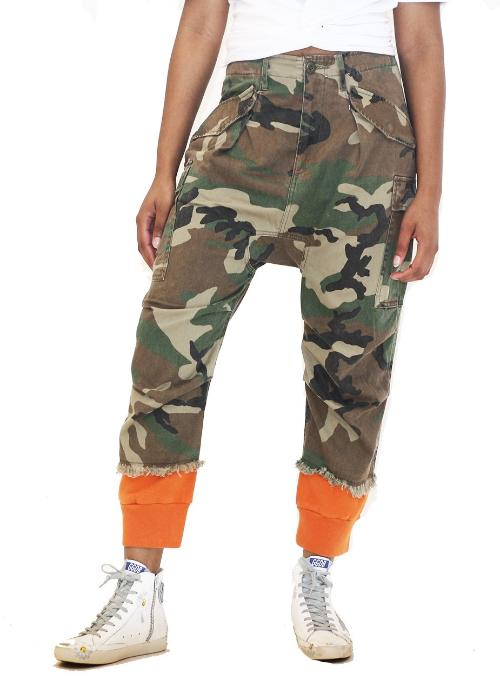 R13 | Camo Harem Utility Cargo Joggers With Contrasting Cuffs
