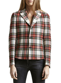 R13 | Tucked Boyfriend Blazer Top in Red/Cream Ecru Tartan