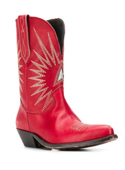 GOLDEN GOOSE | Contrast Stitched Cowboy Boots in Red