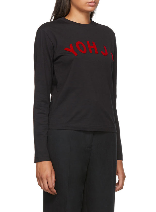 Y-3 | Yohji Letters Long Sleeve Tee Shirt in Black/Red