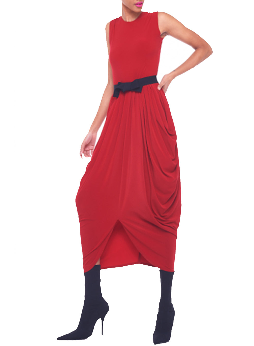 NORMA KAMALI | Sleeveless Waterfall Dress in Red