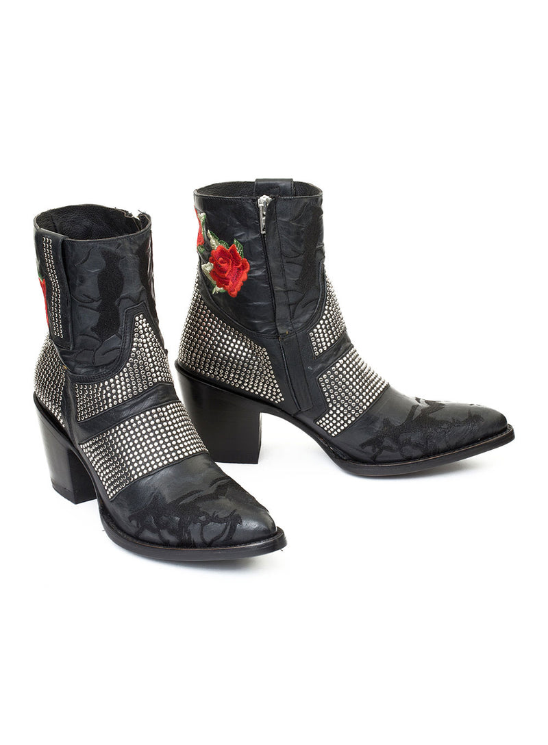 MEXICANA | 'Petrirrojo' Black Studded Rose Cowgirl Boots
