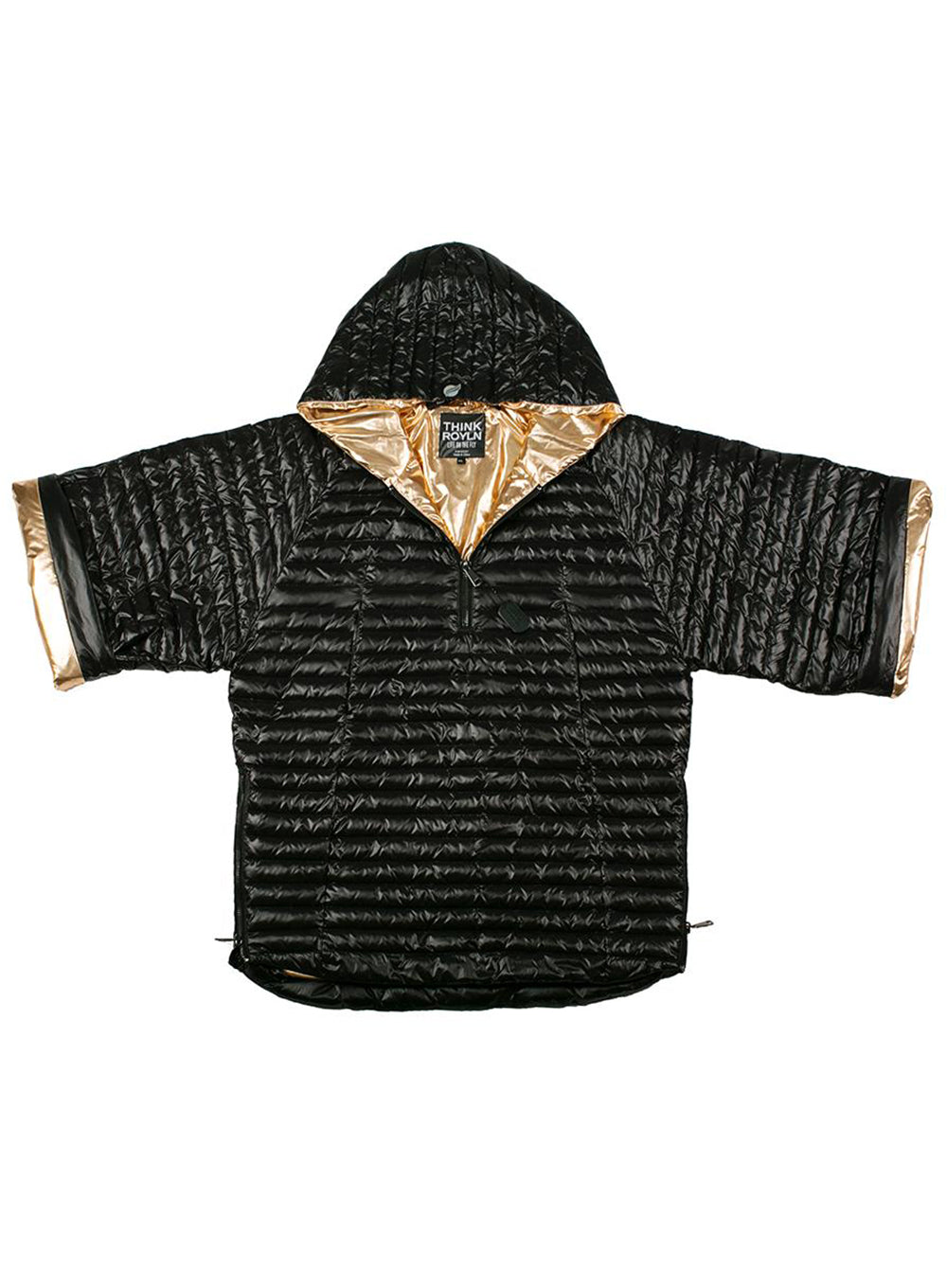 THINK ROYLN | Park Avenue Poncho in Black and Rose Gold