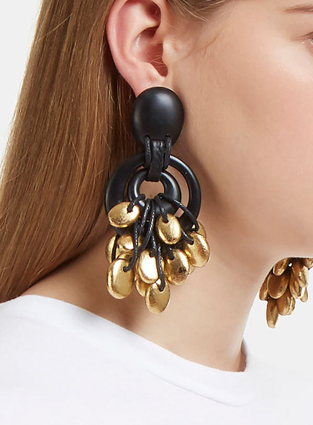 MONIES | Black and Gold-Toned Embellished Earrings