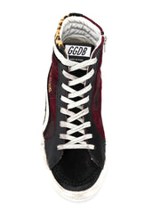 GOLDEN GOOSE | Animal Print & Burgundy High Top Francy Sneakers
