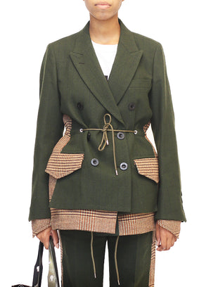 SACAI | Houndstooth Jacket in Military Green