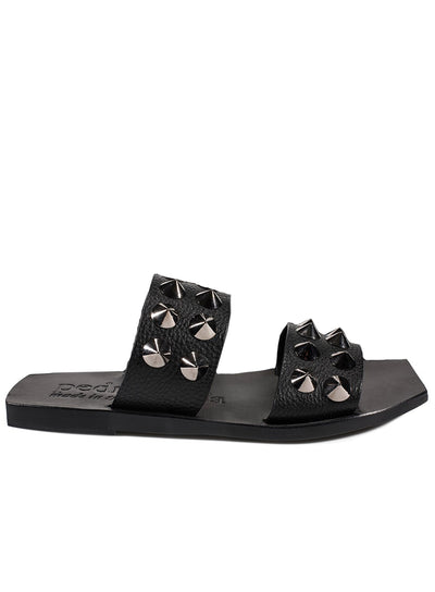 PEDRO GARCIA | 'Zeliana' Cross Leather Studded Slide Sandal