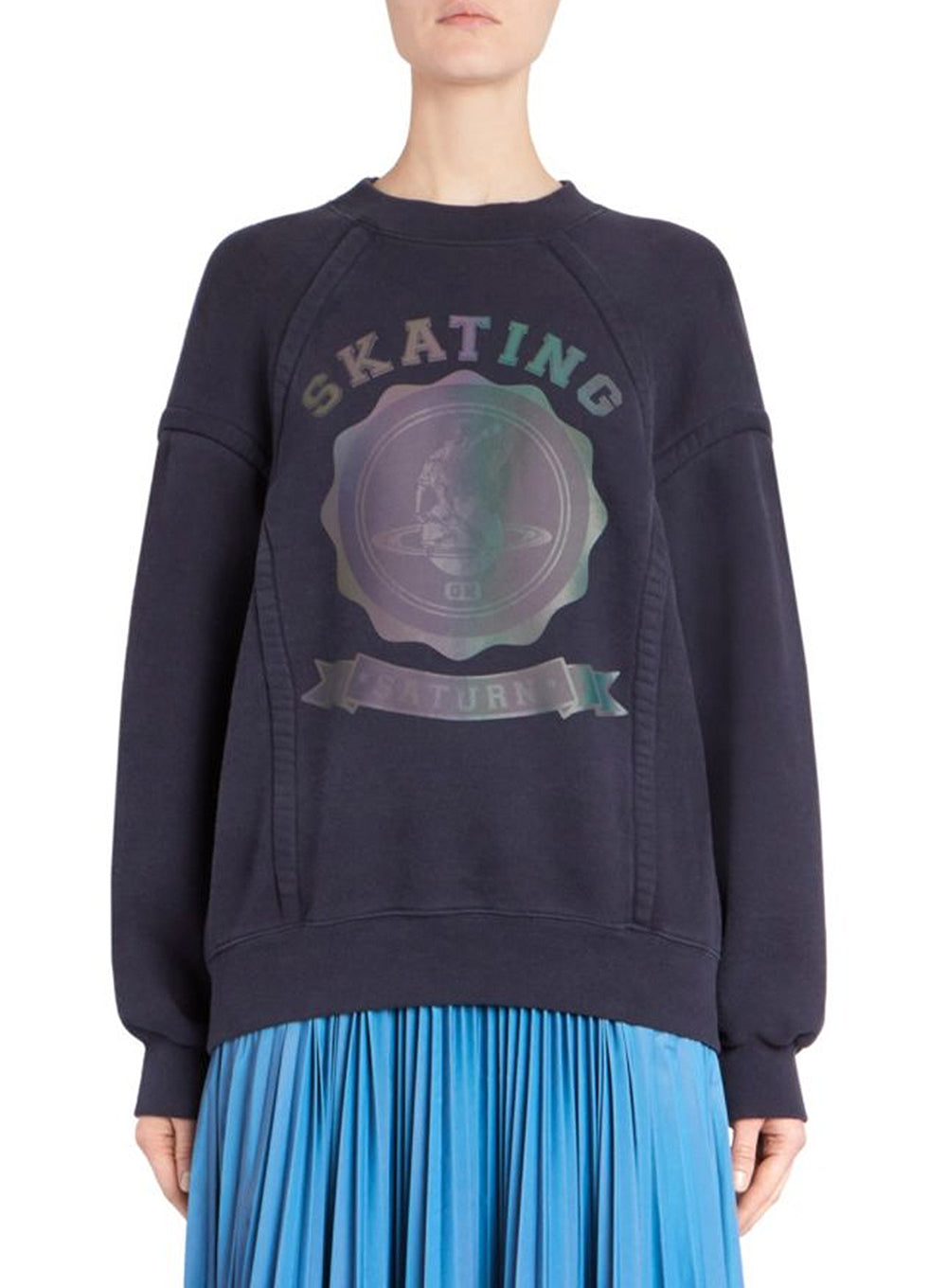 MAISON MARGELA | Skating Saturn Graphic Crewneck Sweatshirt in Navy