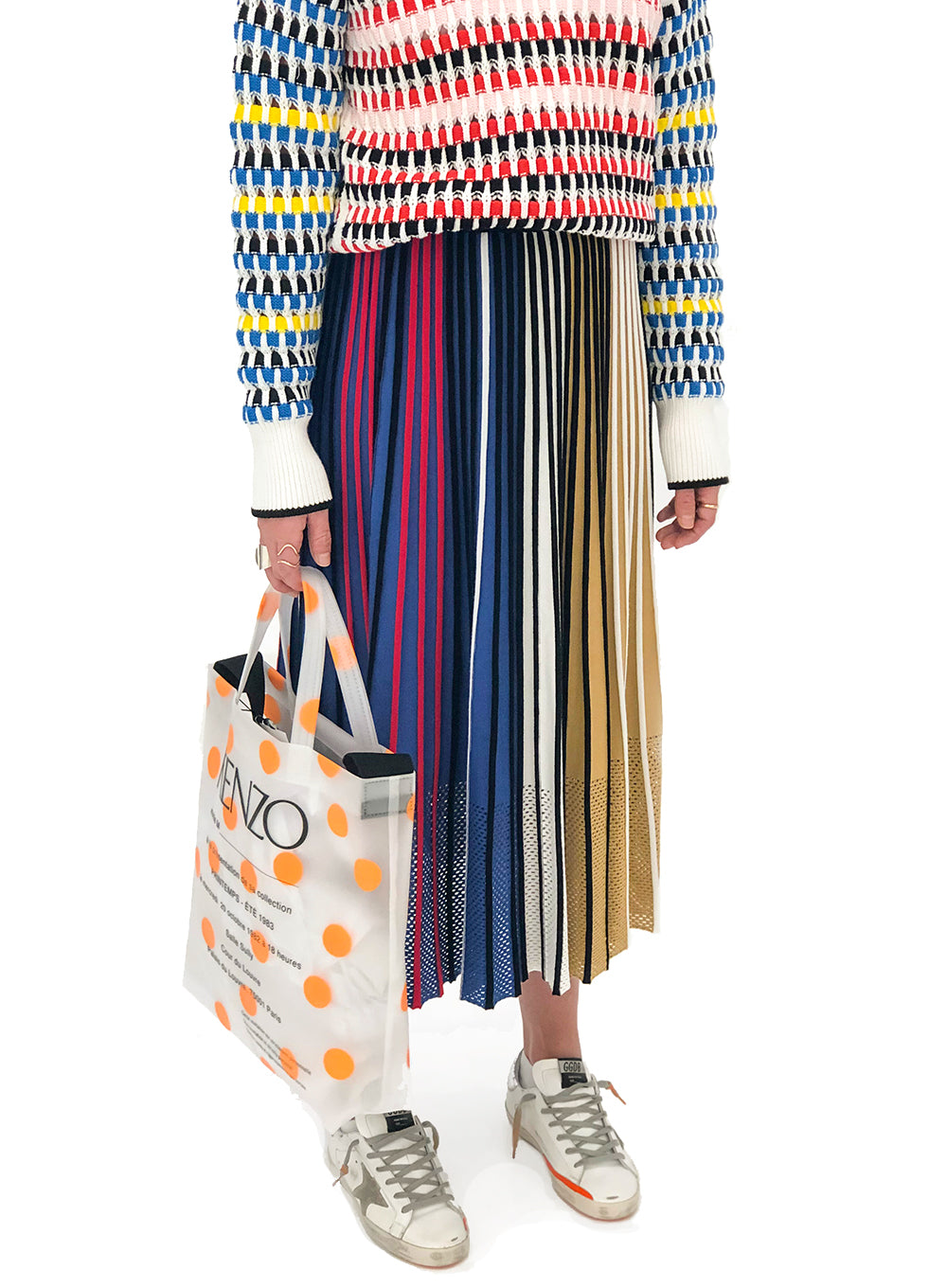 KENZO | Pleated Colorblock Knit Skirt