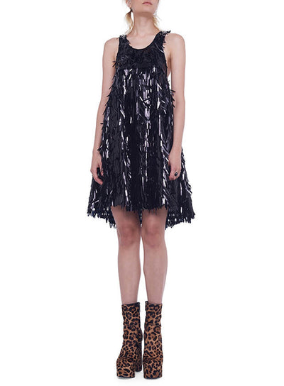NORMA KAMALI | All Over Fringe Sequin Racer Flared Swing Dress