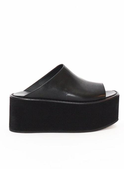 ANN DEMEULEMEESTER | Black Leather Platform Shoes