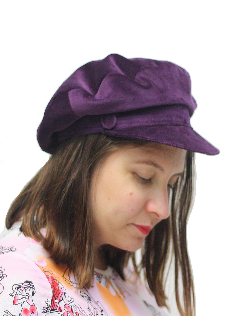 HELENE BERMAN | Velour Baker Boy Hat in Purple
