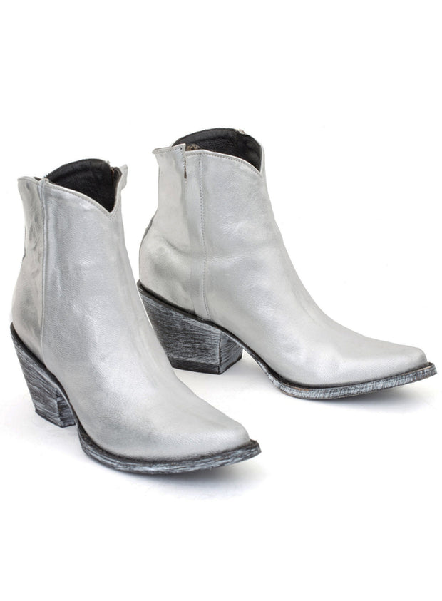 MEXICANA | 'Monica' Mid-Rise Silver Boot With Stars