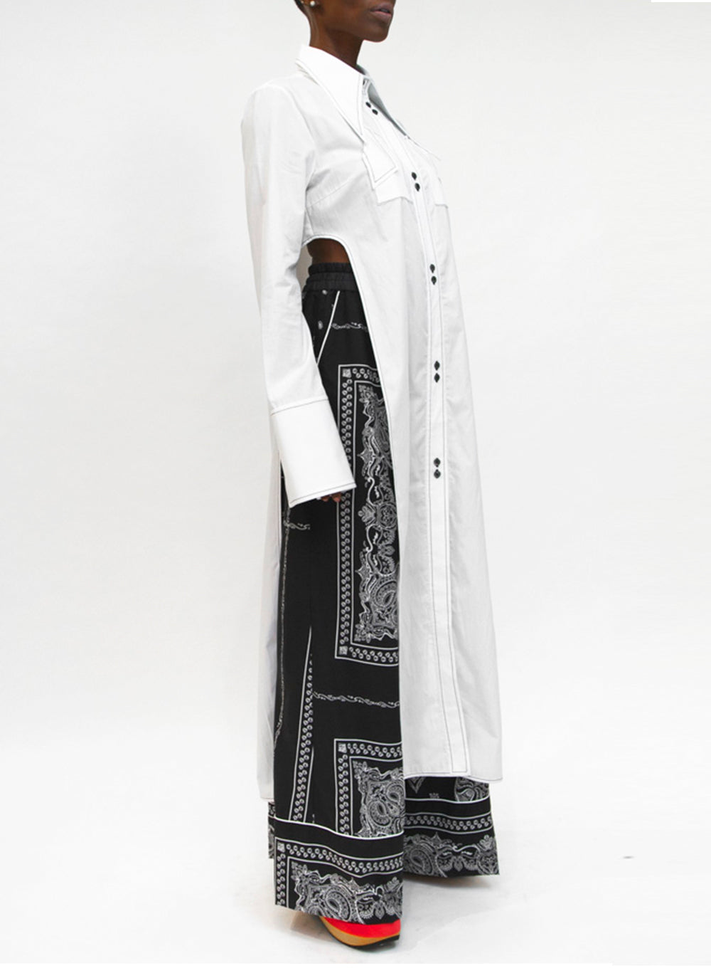 ELLERY | Kaleidoscope Tunic Shirt Dress in White
