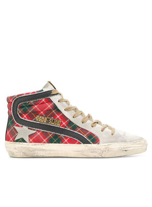 GOLDEN GOOSE | Slide Red Tartan Wool High-Top Sneaker
