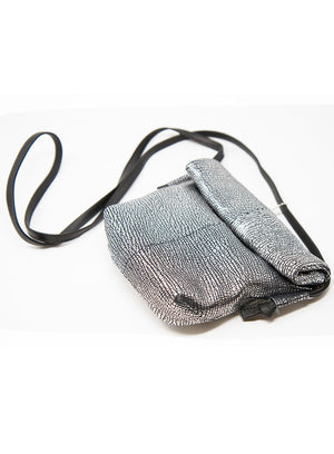 DANIELLA LEHAVI | Serena Sheffield Lunch Bag in Cracked Metallic Silver