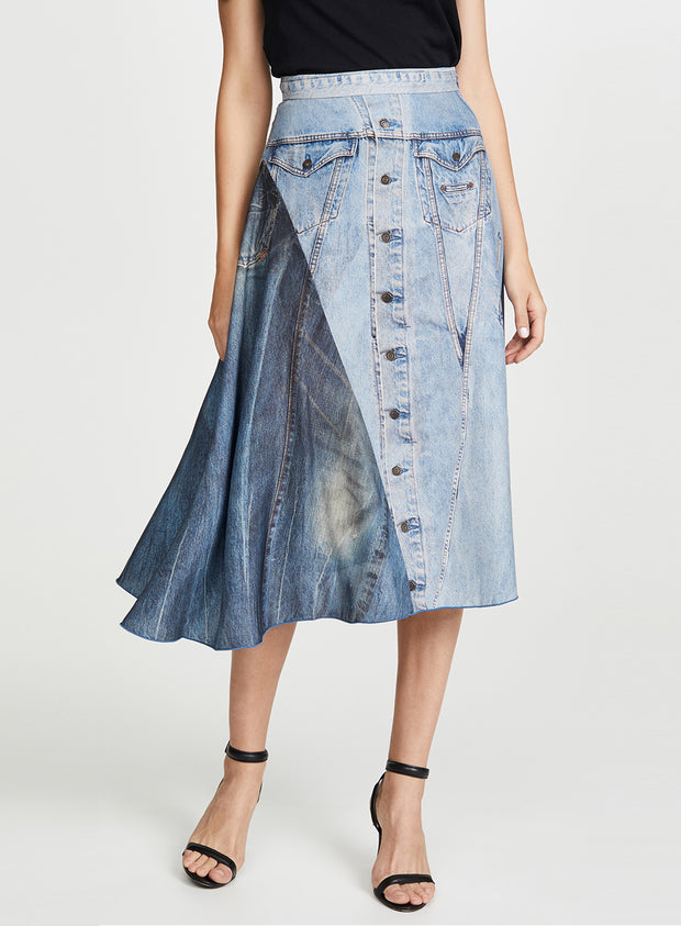 COLOVOS | Silk Denim Print Skirt