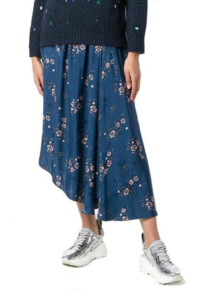 KENZO | Long Floral Skirt in Blue