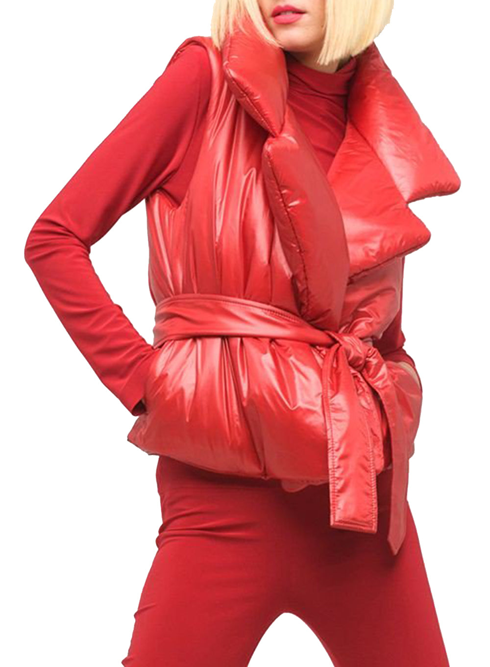 NORMA KAMALI | Sleeveless Sleeping Bag Vest in Red