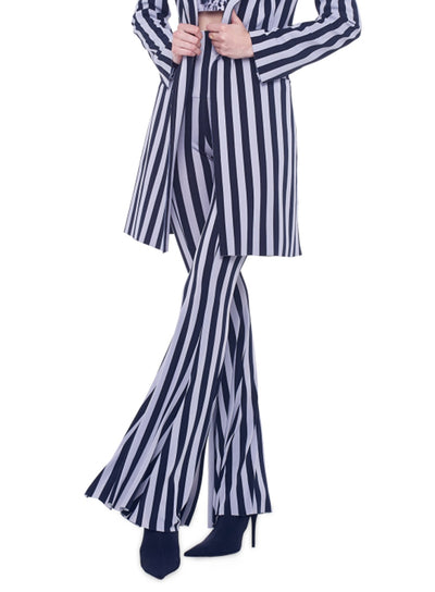 NORMA KAMALI | Grey/Black Stripe Fishtail Bell-Bottoms