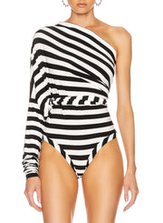 NORMA KAMALI | All In One Bodysuit In 3/4 Stripe