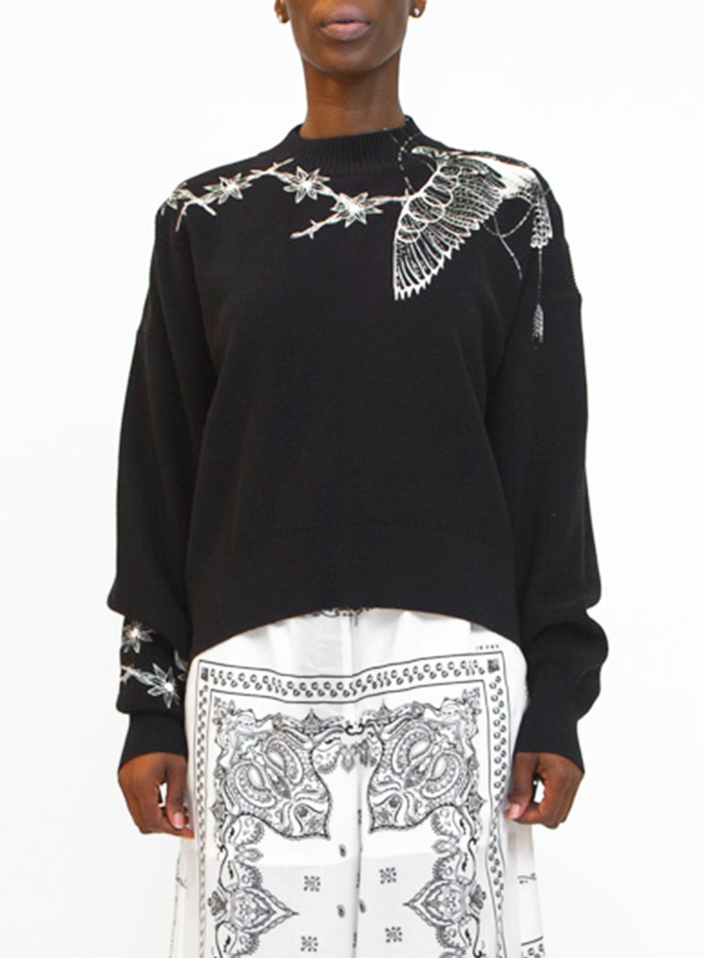 SACAI | Zip-Detailed Embroidered Cotton Sweater