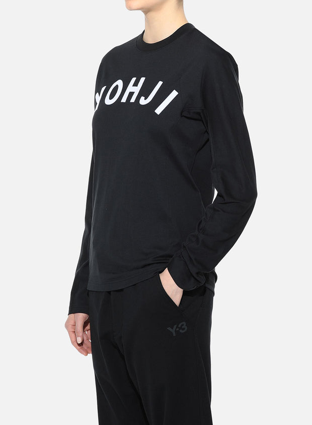 Y-3 | Unisex Yohji Letters Long Sleeve Tee Shirt in Black/Off White