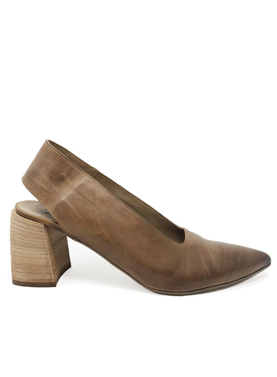 MARSÈLL | 'Stuzzico Decollete' Chunky Heel Slingback Pumps in Tan