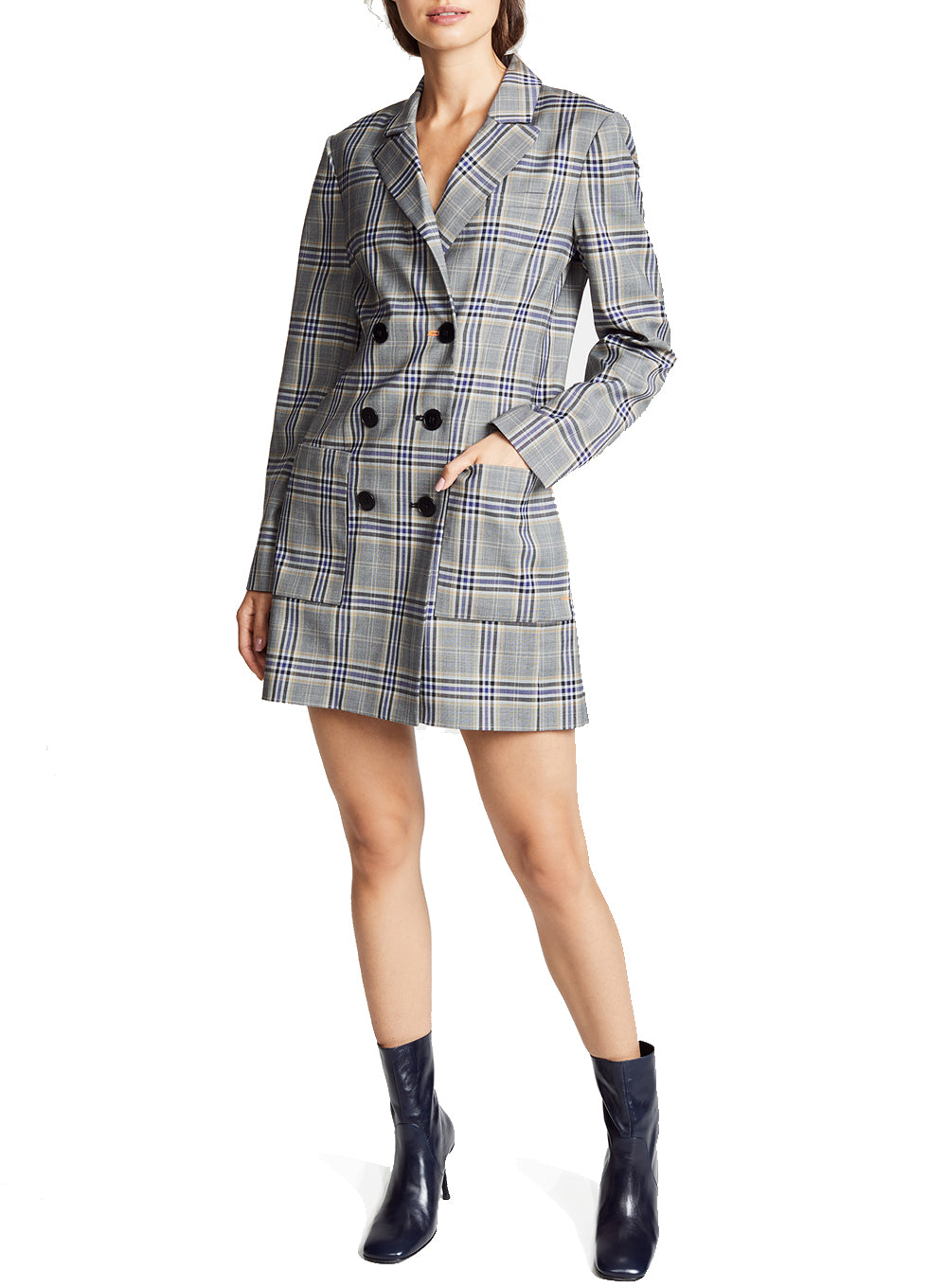TIBI | Double-Breasted Check Blazer Dress