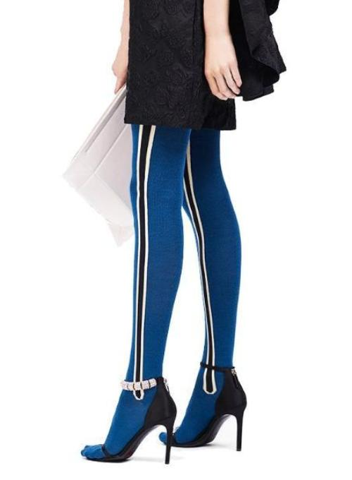 CALVIN KLEIN 205W39NYC | Wool Tights With Stripe Intarsia in Cobalt
