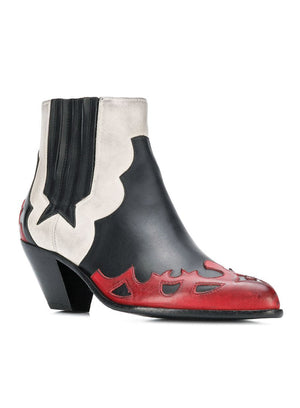 GOLDEN GOOSE | Cowboy Ankle Boots in Black White & Red