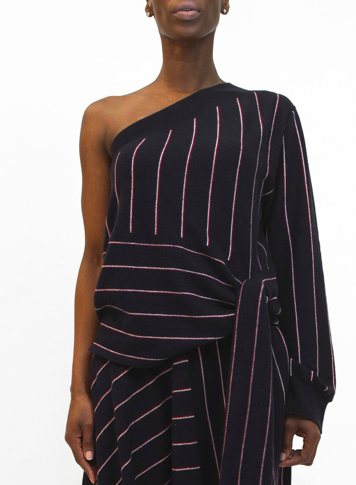 STELLA MCCARTNEY | Stripe Wool Knit Asymmetrical Top
