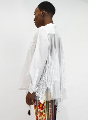 SACAI | Lace x Tulle Back Top