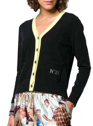 N°21 | Cardigan Sweater with Logo Pocket