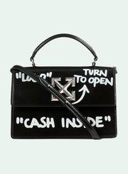 OFF-WHITE | 1.4 Jitney Cash Inside Top Handle Bag, Black/White