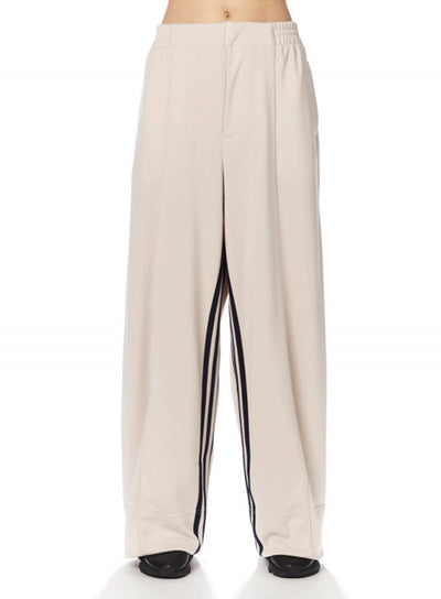 Y-3 | Women's 3 Stripe Wide Track Pants in Ecru