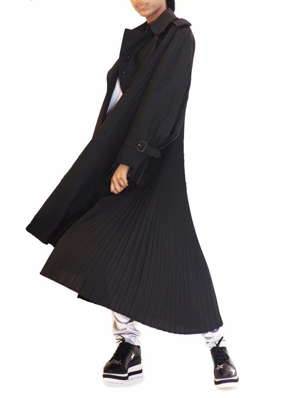 JUNYA WATANABE | Gabardine Pleated Trench Coat in Black