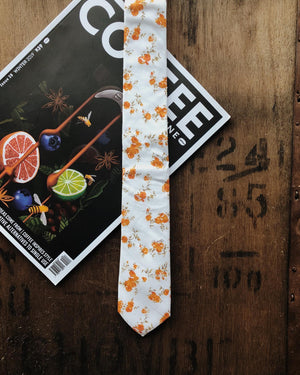 DAINTY ORANGE FLORAL SKINNY TIES