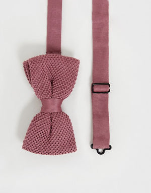 DUSTY PINK KNITTED BOW TIES