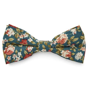 GREEN FLORAL BOW TIES