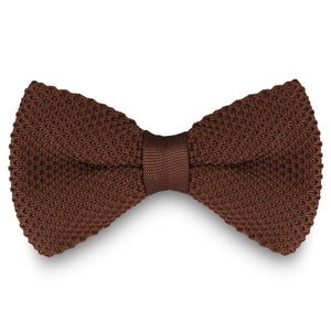 CHOCOLATE BROWN KNITTED BOW TIES