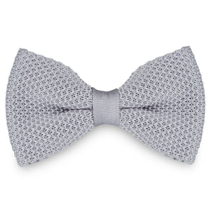 LIGHT GREY KNITTED BOW TIES