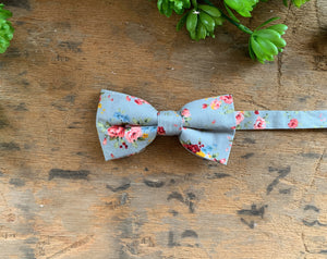 GREY PINK  FLORAL BOW TIES