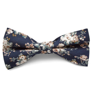 BLUE BROWN FLORAL BOW TIES