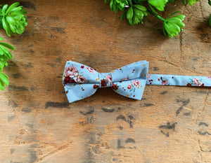 LIGHT BLUE BROWN  FLORAL BOW TIES